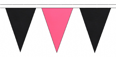 BLACK AND PINK TRIANGULAR BUNTING - 10m / 20m / 50m LENGTHS